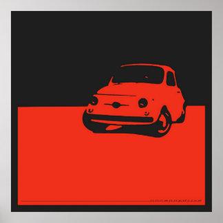 Fiat 500, 1959 - Rood op houtskoolzwarte Poster