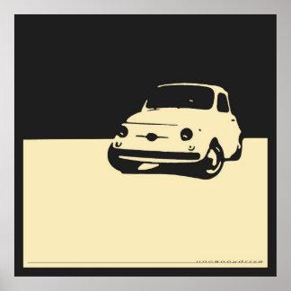 Fiat 500, 1959 - Room op houtskoolzwarte Poster