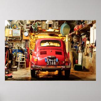 Fiat 500 Poster, retro cinquecento, in Italië Poster