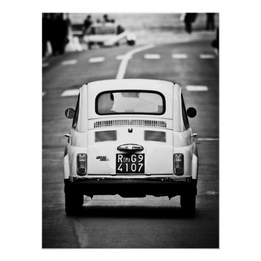 Fiat 500, vintage cinquecento, in Rome, Italië Afdruk