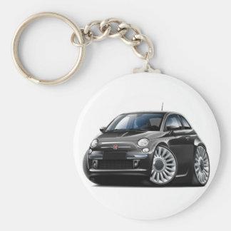 Fiat 500 Zwarte Auto Basic Ronde Button Sleutelhanger
