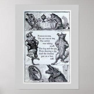 """""""Fiddle-de-dee"""" Vintage Dierlijke Illustratie Poster"""
