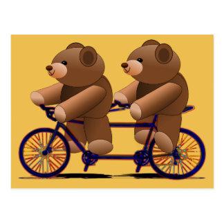 Fiets Achter elkaar, de Druk van de Teddybeer Briefkaart
