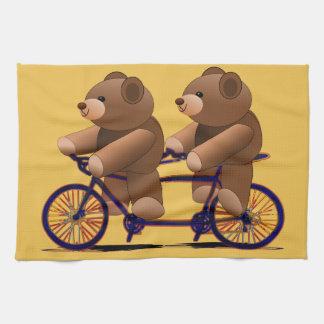 Fiets Achter elkaar, de Druk van de Teddybeer Theedoek