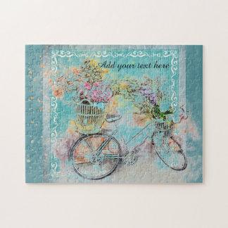 Fiets met bloemmanden op blauwe jute puzzel