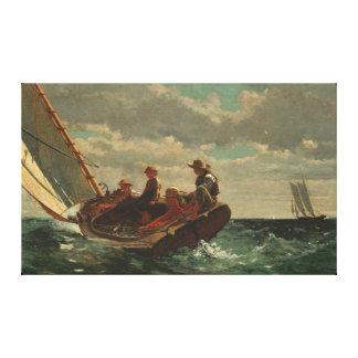 Fijne Art. van Winslow Homer Breezing het omhoog Stretched Canvas Afdruk