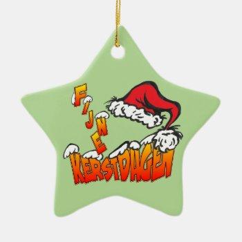 Fijne Kerstdagen met Kerstmuts Ster Ornament