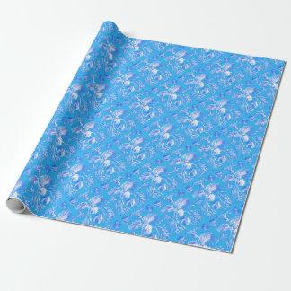 Filicinae op Blauwe Achtergrond Cadeaupapier