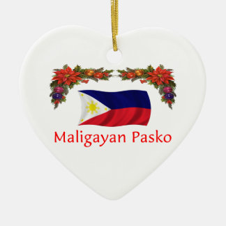 Filipijnse Kerstmis Keramisch Hart Ornament