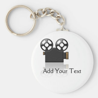 Filmcamera in Zwart en Gouden op Wit Basic Ronde Button Sleutelhanger