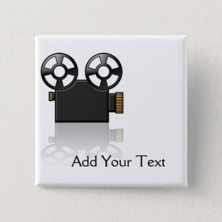 Filmcamera in Zwart en Gouden op Wit Vierkante Button 5,1 Cm