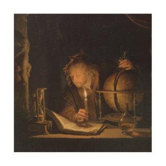 Filosoof die door Kaarslicht bestudeert Hout Print