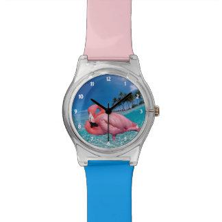 Flamingo en Palmen Horloge
