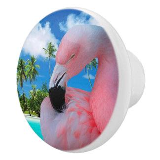 Flamingo en Strand Keramische Knop