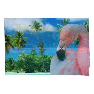 Flamingo en Strand Kussensloop
