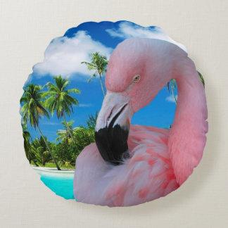 Flamingo en Strand Rond Kussen