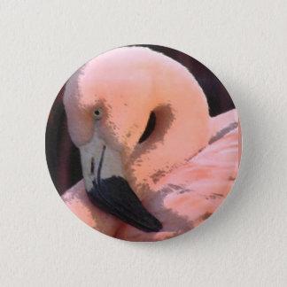 flamingo hoofd ronde button 5,7 cm