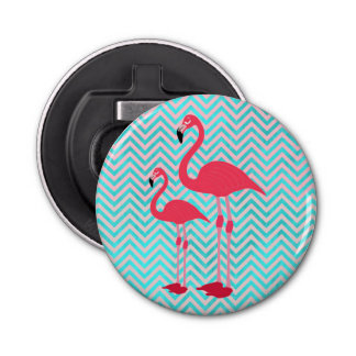 Flamingo's van de Blauwgroen Chevron van Girly de Button Flesopener