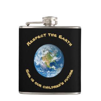 Fles van de Aarde van de Eerbied van kinderen de Heupfles