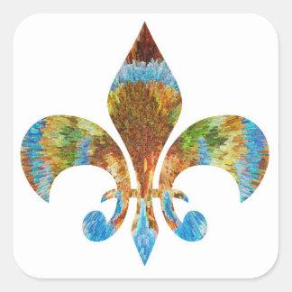 Fleur DE Lis:  Het gouden Gegraveerde Zilver van n Vierkante Sticker