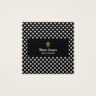 Fleur DE Lis Label met Witte Stippen Vierkante Visitekaartjes