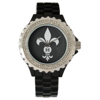 Fleur DE Lis Monogram Eenvoudige Moderne Luxe Horloge