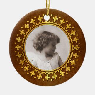 Fleur-DE-lis om het Lijst van de Foto Rond Keramisch Ornament