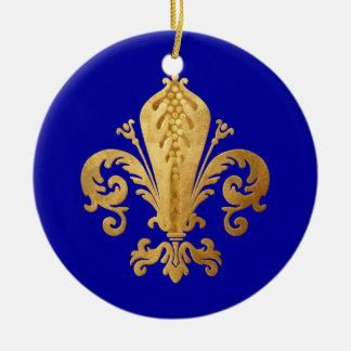 Fleur-DE-lis Rond Keramisch Ornament