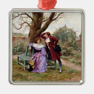 Flirt Zilverkleurig Vierkant Ornament