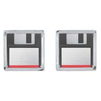 Floppy diskcufflinks verzilverde manchetknopen