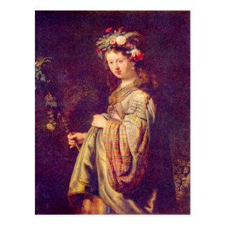 Flora (portret van Saskia als Flora) door Briefkaart