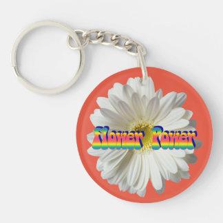 Flower power 2 1-Zijde rond acryl sleutelhanger