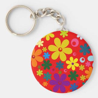 FLOWER POWER (een retro kleurrijk bloemenontwerp) Sleutelhanger