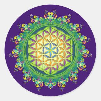 Flower power van het Leven/Blume des Lebens Ronde Sticker