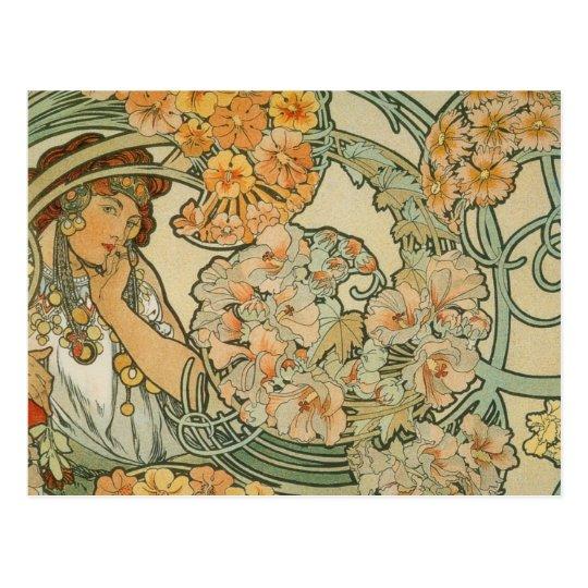 Flowers, Mucha Briefkaart