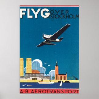 FlyG over Poster van de Reis van Stockholm het