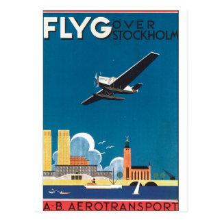 FlyG over Poster van de Reis van Stockholm het Briefkaart