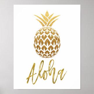 Folie van de Ananas van Aloha de Tropische Witte Poster
