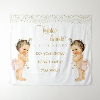 Fonkel de TweelingMeisjes van het Vintage Baby van Wandkleed