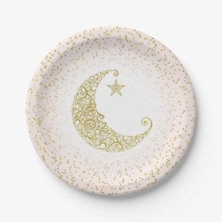 Fonkel Weinig Roze van de Maan van de Ster Gouden Papieren Bordjes