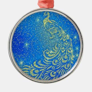 Fonkelende Blauwe & Gele Pauw Zilverkleurig Rond Ornament