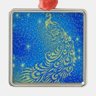 Fonkelende Blauwe & Gele Pauw Zilverkleurig Vierkant Ornament