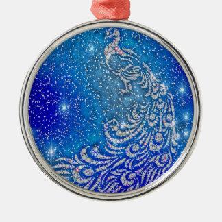 Fonkelende Blauwe & Witte Pauw Zilverkleurig Rond Ornament