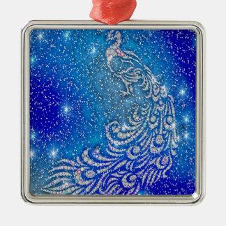 Fonkelende Blauwe & Witte Pauw Zilverkleurig Vierkant Ornament