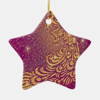 Fonkelende Rode & Gele Pauw Keramisch Ster Ornament