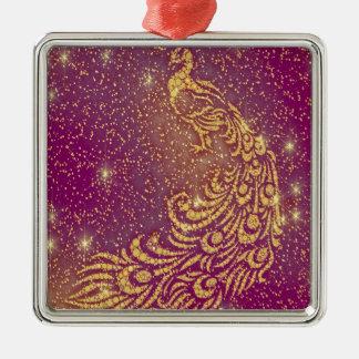 Fonkelende Rode & Gele Pauw Zilverkleurig Vierkant Ornament