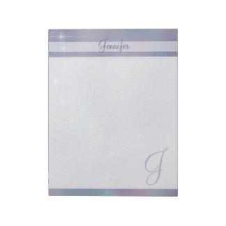 Fonkeling van het Monogram van de lavendel de Notitieblok