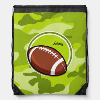 Football op heldergroene camo, camouflage trekkoord rugzakje