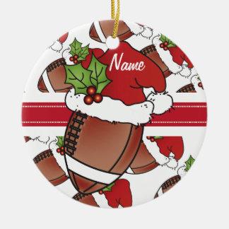 Football | van het Pet van de Kerstman van Rond Keramisch Ornament