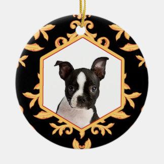 Foto van de Hond van het Damast van de Huisdieren Rond Keramisch Ornament